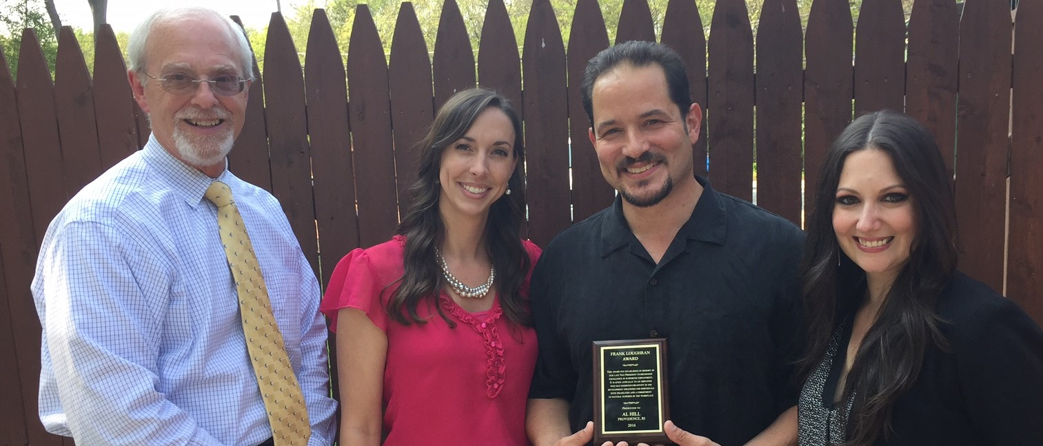 Pictured (left to right) Steve Wood, President, Jenna Rebello, Director, Al Hill, CRS/recipient, Trisha Wagner, Regional Director